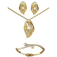 Dg Jewels 24k Gold and Silver Plated Bollywood Collection of  Elegant 1 Pendant Set and 1 Bracelet -DGPS  Combo 019