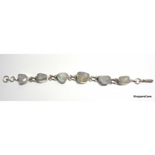 Shoppers Cave Designer Sterling Silver Bracelet Setted With Faceted Rainbow Moon Stone