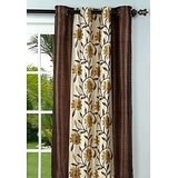 New Elegant Floral Brown Window (5X4 Ft) Curtain