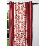 New Elegant Floral Maroon Door (7X4 Ft) Curtain