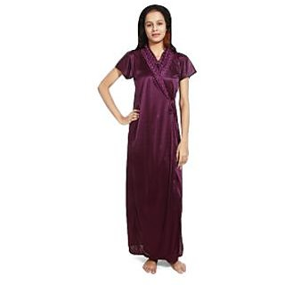 Lady Choice Satin Wine Sleepwear (Design 5)