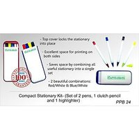 Gromo Compact Stationery Kit- (Set Of 2 Different Color Pens,1 Push Button Pencil And 1 Highlighter)