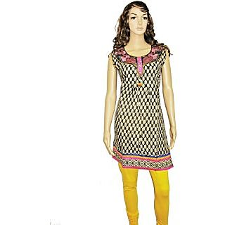 1498 L Black/Beig Color Embroider Neckline, Back & Printed Penal Kurti