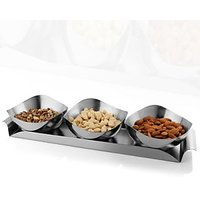 Designer Diwali Gift Set Of 3 Nut Bowls With Tray (without Dry Fruits)