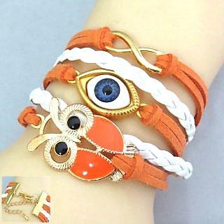 Orange Vintage Owl Evil Eye Friendship Band / Bracelet - 836