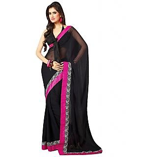 Bhuwal Fashion Black Chiffon Lace Saree With Blouse