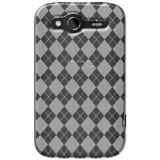 Amzer 91279 Luxe Argyle High Gloss Tpu Soft Gel Skin Case - Clear For Htc Wildfire S