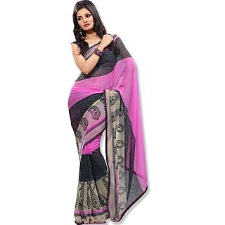 Fabdeal Pink  Black Color Printed Chiffon Casual Wear Sarees