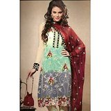 Akshara Multi Color Net Embroidered Unstitched Suit With Dupatta (With Silk Inner)