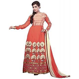 Surat Tex Orange Color Georgette Semi-Stitched Anarkali-C246DL18003KK