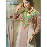 Rivaa Peach Faux Georgette Embroidered Unstitched Anarkali Suit With Dupatta