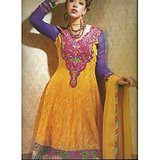 Rivaa Yellow Faux Georgette Embroidered Unstitched Anarkali Suit With Dupatta