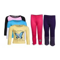 Goodway Pack Of 5 -Girls Did You Know Col 3Pack Tee & Girls 2Pack Fashion Full Pant Combo Pack (JG2-CMB1+LSL-DYK-1-COL)