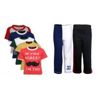 Goodway Pack Of 7 Boys Attitude 5Pack Tee & Boys 2Pack Fashion Full Pant Combo Pack (JB2PANT-CMB2+JB5ATT-3)