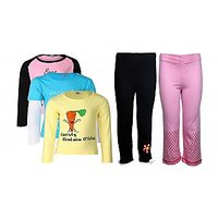 Goodway Pack Of 5 -Girls Did You Know Col 3Pack Tee & Girls 2Pack Fashion Full Pant Combo Pack (JG2-CMB5+LSL-DYK-3-COL)