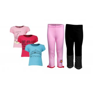 Goodway Pack Of 5 Girls Style 3Pack Tee-Col & Girls 2Pack Fashion Full Pant Combo Pack (JG2-CMB3+STY-7-COL)