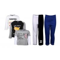 Goodway Pack Of 5 -Boys Did You Know Bwg 3Pack Tee & Boys 2Pack Fashion Full Pant Combo Pack (JB2-CMB3+LSL-DYK-4-BWG)