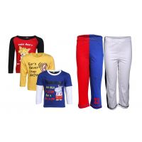 Goodway Pack Of 5 -Boys Did You Know Col 3Pack Tee & Boys 2Pack Fashion Full Pant Combo Pack (JB2-CMB5+LSL-DYK-4-COL)