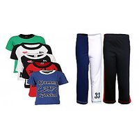 Goodway Pack Of 7 Boys MND 5Pack Tee & Boys 2Pack Fashion Full Pant Combo Pack (JB2PANT-CMB2+JB5MND-2)