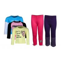 Goodway Pack Of 5 -Girls Did You Know Col 3Pack Tee & Girls 2Pack Fashion Full Pant Combo Pack (JG2-CMB1+LSL-DYK-4-COL)