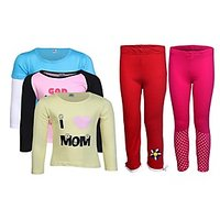 Goodway Pack Of 5 -Girls MND Col 3Pack Tee & Girls 2Pack Fashion Full Pant Combo Pack (JG2-CMB2+LSL-MND-1-COL)