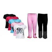 Goodway Pack Of 7 Girls Attitude 5Pack Tee & Girls 2Pack Fashion Full Pant Combo Pack (JG2PANT-CMB3+JG5ATT-2)