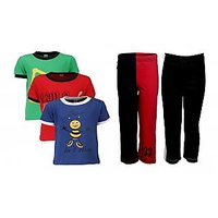 Goodway Pack Of 5 Boys Style 3Pack Tee-Col & Boys 2Pack Fashion Full Pant Combo Pack (JB2-CMB1+STY-2-COL)