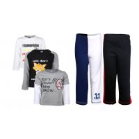 Goodway Pack Of 5 -Boys Did You Know Bwg 3Pack Tee & Boys 2Pack Fashion Full Pant Combo Pack (JB2-CMB2+LSL-DYK-4-BWG)