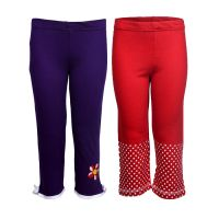 Goodway Pack Of 2 Girls Flower & Star All Over Printed Full Pants (JG2PCKPANT-CMB4)