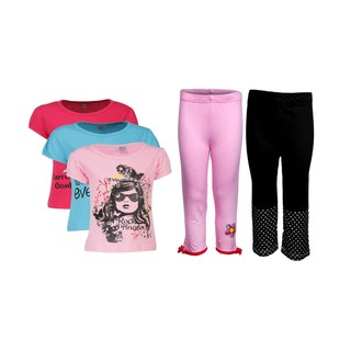 Goodway Pack Of 5 Girls Style 3Pack Tee-Col & Girls 2Pack Fashion Full Pant Combo Pack (JG2-CMB3+STY-1-COL)