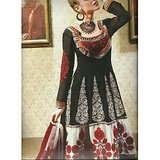 Rivaa Black Faux Georgette Embroidered Unstitched Anarkali Suit With Dupatta