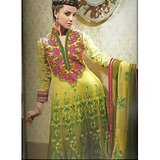 Rivaa Yellow Green Faux Georgette Embroidered Unstitched Anarkali Suit With Dupatta