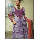 Rivaa Purple Faux Georgette Embroidered Unstitched Anarkali Suit With Dupatta