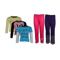 Goodway Pack Of 5 -Girls MND Col 3Pack Tee & Girls 2Pack Fashion Full Pant Combo Pack (JG2-CMB1+LSL-MND-5-COL)
