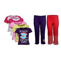 Goodway Pack Of 7 Girls MND 5Pack Tee & Girls 2Pack Fashion Full Pant Combo Pack (JG2PANT-CMB4+JG5DYK-4)