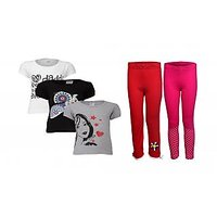 Goodway Pack Of 5 Girls Style 3Pack Tee-Bwg & Girls 2Pack Fashion Full Pant Combo Pack (JG2-CMB2+STY-7-BWG)