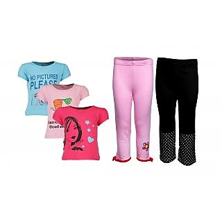 Goodway Pack Of 5 Girls Style 3Pack Tee-Col & Girls 2Pack Fashion Full Pant Combo Pack (JG2-CMB3+STY-5-COL)