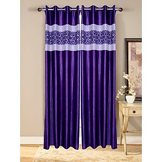 Fresh From Loom  Prime Eyelet Curtain Set of 2 (039)G1Purple2-7)
