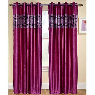 Fresh From Loom  Classy Eyelet Curtain Set of 2 (048GDPink2-7)