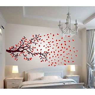 Walltola PVC Multicolor Nature Wall Decal - Lovely Autumn Tree 1027 (Finished Size 210cm x 100cm) (No of Pieces 1)