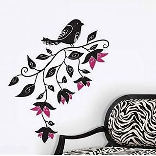 Walltola PVC Nature Wall Decal - Pretty Black Bird With Flowers 8090 (80x100cm) (No of Pieces 1)