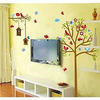 Walltola Wall Decal-Sweet Birds And Nest Trees ( 180X130 Cm)