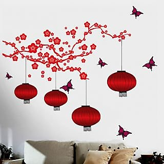 Walltola PVC Chinese Lamps In Red Floral Wall Decal (24X35 Inch)