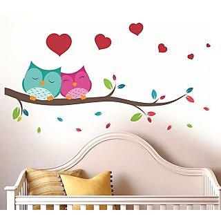 Walltola Pvc Love Couple Owl Wall Decal (37X33 Inch)