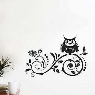 Black Owl On Spiral Design 7219