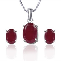 VK Jewels Oval Shaped Pendant With Earrings PS1042R (VKPS1042R)