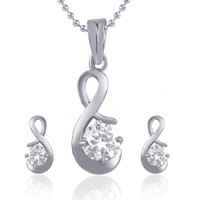 VK Jewels Artistically Crafted Pendant With Earrings PS1049R (VKPS1049R)