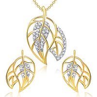 VK Jewels Beautiful Dual Leaf Pendant Set With Earrings-PS1052G [VKPS1052G]