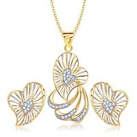 VK Jewels Nice Heart Pendant Set With Earrings-PS1058G [VKPS1058G]