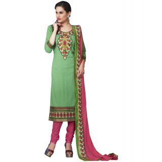 Surat Tex Green Color Cotton Jaquard Un-Stitched Dress Material-C305DL210KE